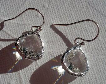 Clear Glass Earrings- Sterling Silver French Ear Wires