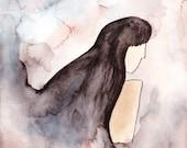 Girl Swirl Watercolor Painting