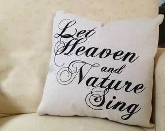 Let Heaven and Nature Sing personalized Christmas pillow