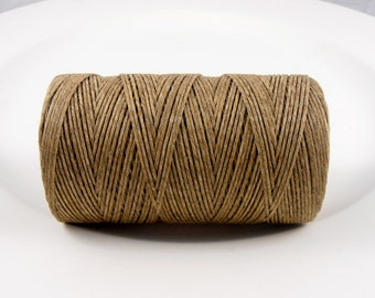 7.5 yards natural undyed waxed linen cord 6ply