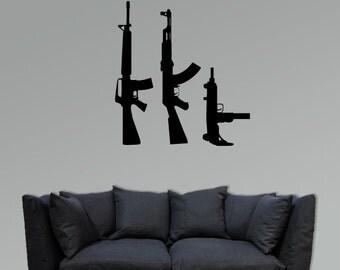 3 Machine guns vinyl decal