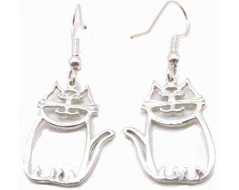 Sterling Silver Le Cat Earrings