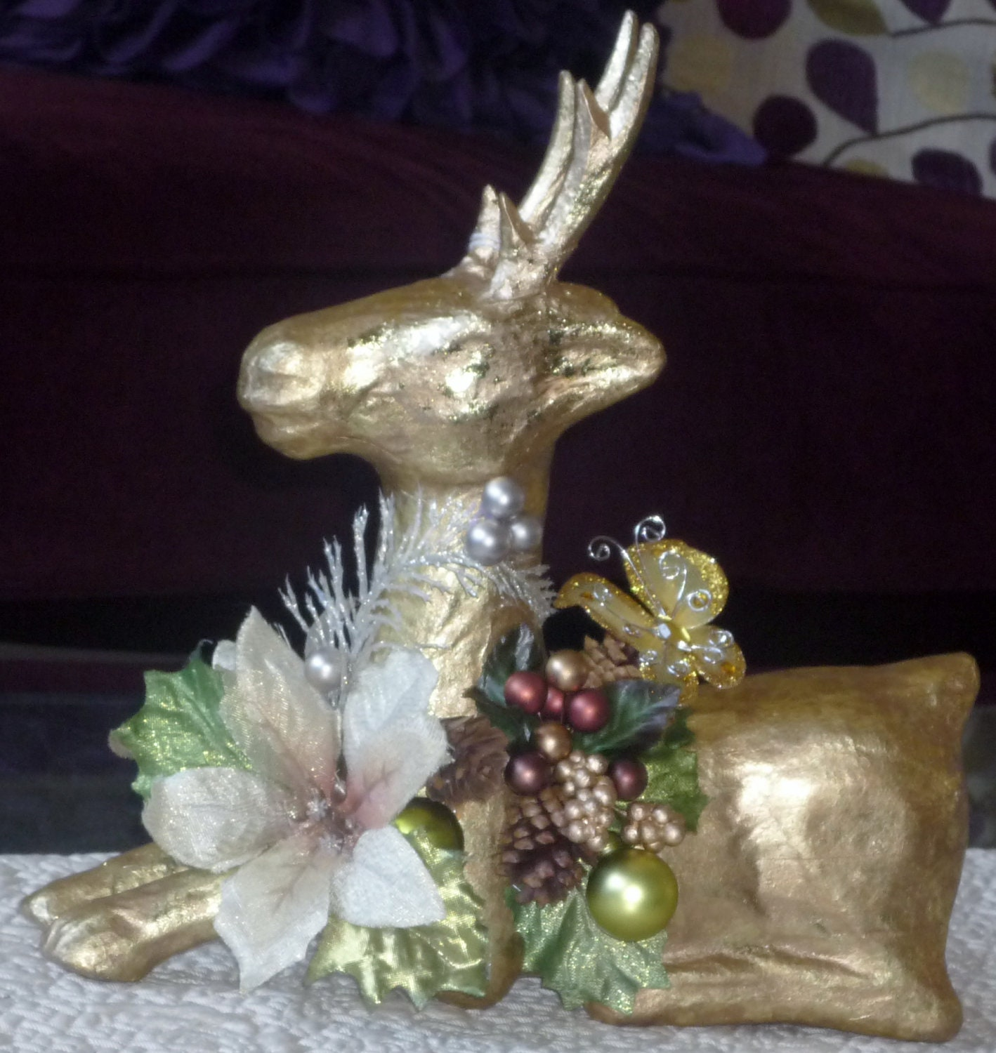 Gold christmas reindeer holiday