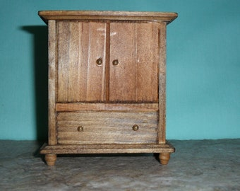 Doll house miniature furniture. China cabinet, hutch, wood in early american.