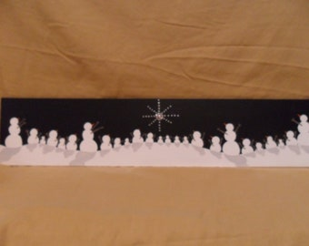 The Gathering of the Snowmen, Snowpeople. Original painting on wood. Black and White with a jewel star. Family Tree.