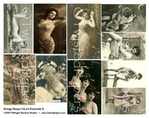 RISQUE FRENCH POSTCARDS Naughty Bawdy Sexy Semi-Nude Lovely Ladies Vintage Photos Digital Collage Sheet 005