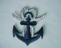 Embroidered Navy Blue Anchor Iron on Sew On Patch Applique Badge