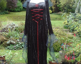 Black hooded gothic witch pagan Handfasting renaissance  Medieval Wedding gown / dress 22 TO 28
