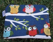 Zipper Padded Coin Purse - Camera Pouch - Makeup Bag - Owls on Branches