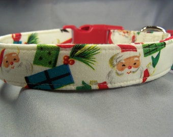 Christmas Dog Collar, Santa Claus on Cream