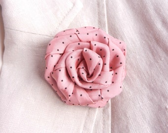 Pink polka dot rose textile brooch hair pin handmade