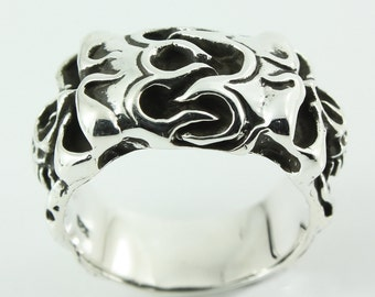 Twin flame skull silver 925  Free shipping R13