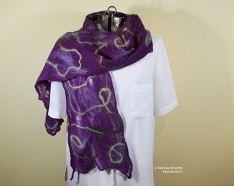 Deep purple cobweb scarf with green brown and cream threads