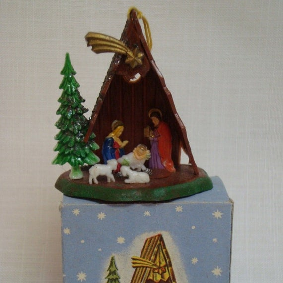 Vintage Religious Nativity Christmas Ornament: Vintage Christmas Ornament Miniature Nativity Creche Manger