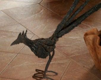 metal sculpture roadrunner