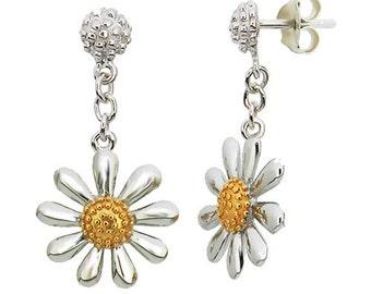 Silver Daisy Drop Earrings (13mm daisy)