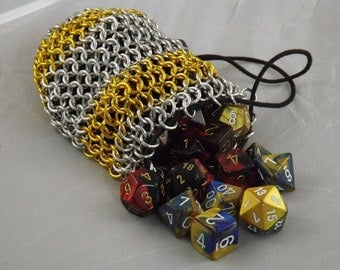 Chainmail Dice Bag with Gold Stripes