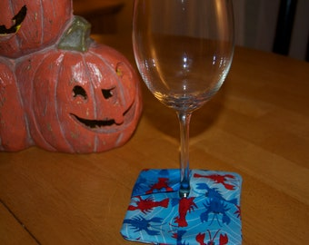 Homemade Rock Lobster Wine Glass Coasters
