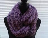 Hand knit infinity scarf in dusty purple