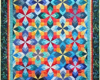 Brightly colored quilt for a single bed