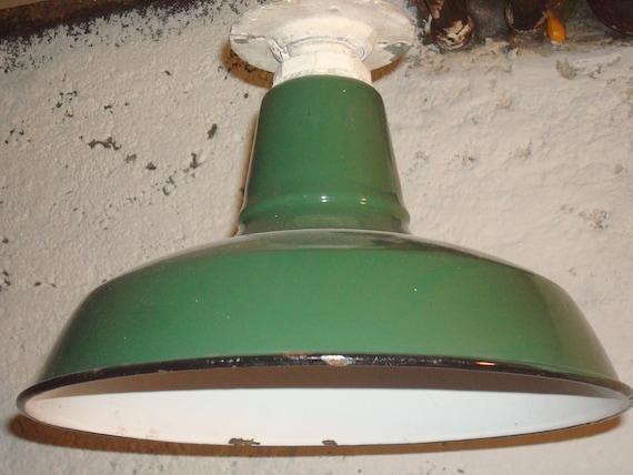 ON SALE Treasured Green Industrial Metal Shade Farm Light