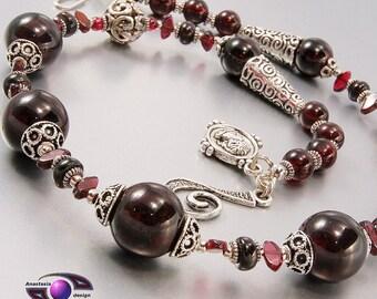 Necklace Gemstone Faceted Garnet Necklace Dark Red Necklace Red Stone Necklace January Birthstone