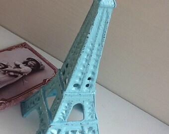Eiffel Tower Cast Iron Aqua Blue Home Decor Paris Inspired House Wares