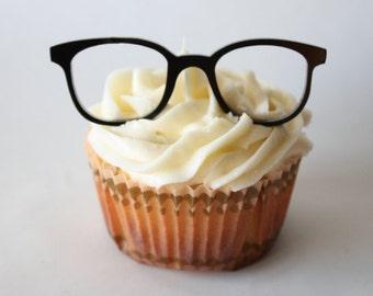 6 Vintage Geek Glasses Cupcake Toppers (Acrylic)