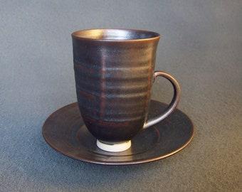 Cup and saucer set, black metalic glaze
