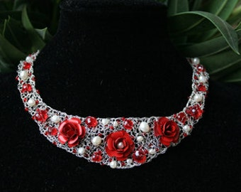 Collier rose red silver plated beads white necklace chain wire hook closure adjustable metal flower flower costume silver wedding