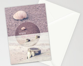 """Enjoy the Silence - Vintage - Stationery Cards - Beach Impressions - 5""""x7"""" - Seashell - Pink"""