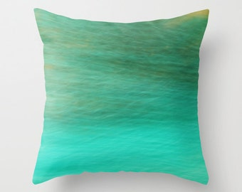 """Throw Pillow Cover - Fantasy Ocean 2 - 16""""x16"""" inch - Photography - 100% Spun Polyester - Abstract - Blue - Turquoise - Green"""