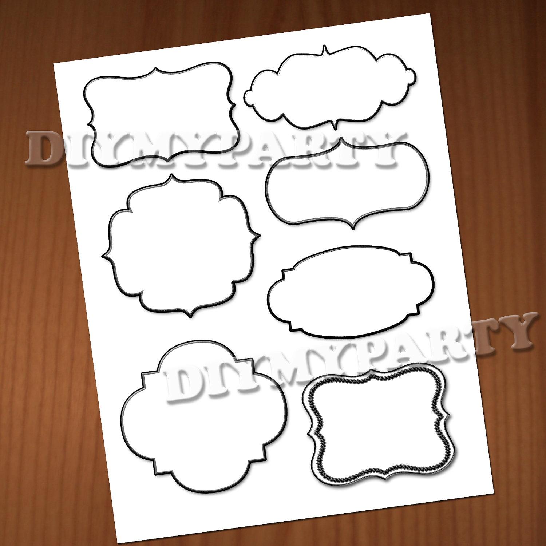 Printable label printable cards clipart clip art labels frames for Decorative labels for printing