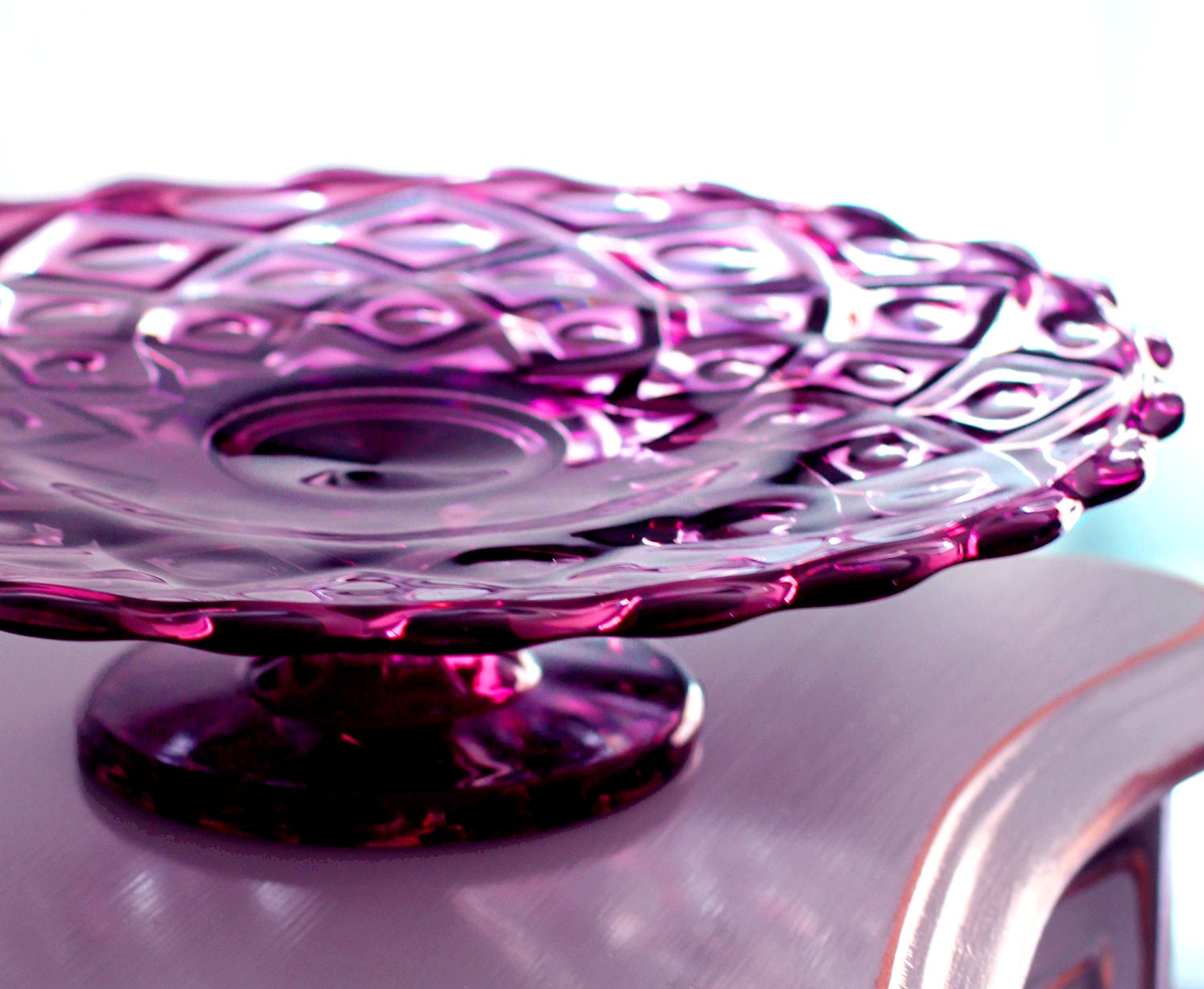 Thanksgiving Vintage Cake Stand In Amethyst Purple Plum Cake
