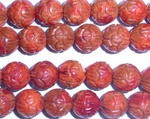 14mm Round Fruit Carved Coral Red Beads - 9112
