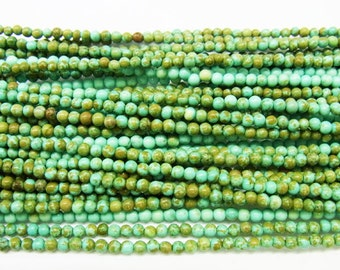 2mm Round Howlite Turquoise Beads Genuine Natural Yellow 15''L 38cm Loose Beads Semiprecious Gemstone Bead   Supply