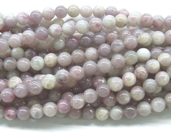 "8mm Round Pink Tourmaline Semi Gemstone Beads 15""L 38cm Loose Beads - 4626"