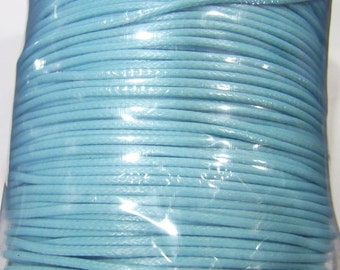 1.5mm Waxed Cotton Cord Light Blue 20 Meters - 4896 -