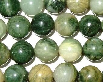 12mm Round Green Rutilated Jasper Beads Genuine Natural 15''L 38cm Loose Beads Semiprecious Gemstone Bead   Supply
