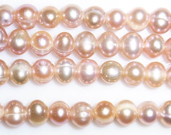 6-7MM Offround Purple Freshwater Pearl 15 inches length, 38 cm-