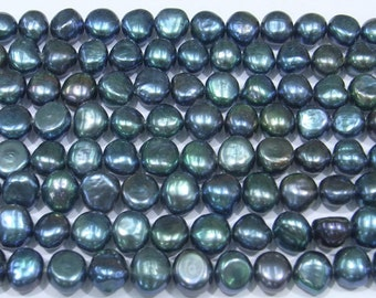 8-9mm Genuine Freshwater Pearl Black Twolight 15''L 38cm Loose Beads- 5421