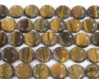 14mm Flat Round Tiger Eye Beads Genuine Natural Genuine - 5630 15''L Semiprecious Gemstone Bead Wholesale Beads Supply