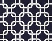 Geometric Fabric- Premier Prints Gotcha- Navy Blue and White Chainlink- Blue Twill Fabric by the Yard- Interlocking Squares- Nautical