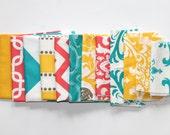 60% OFF Fabric Scraps- Premier Prints Remnants- Corn Yellow, Coral, and True Turquoise Assortment- Home Decor Fabric, Cotton Pieces SALE