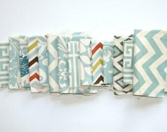Fabric Scraps- Premier Prints Remnants- Village Blue Assortment- Home Decor Fabric