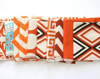 Fabric Scraps- Premier Prints Remnants- Orange Assortment- Home Decor Fabric