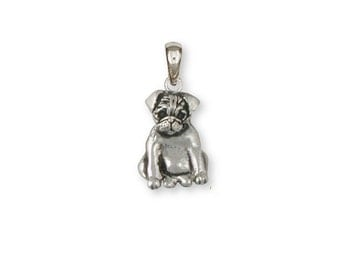Sterling Silver Pug Pendant  - PG37P