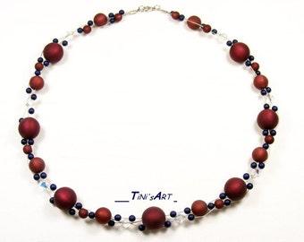 Chain, Bordeaux, blue, Polaris beads