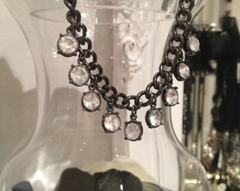 CLEARANCE! L'Oea Statement Crystal GunMetal Chain Necklace