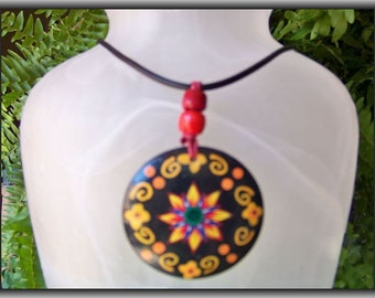 Multicolor wood pendant on leather necklace